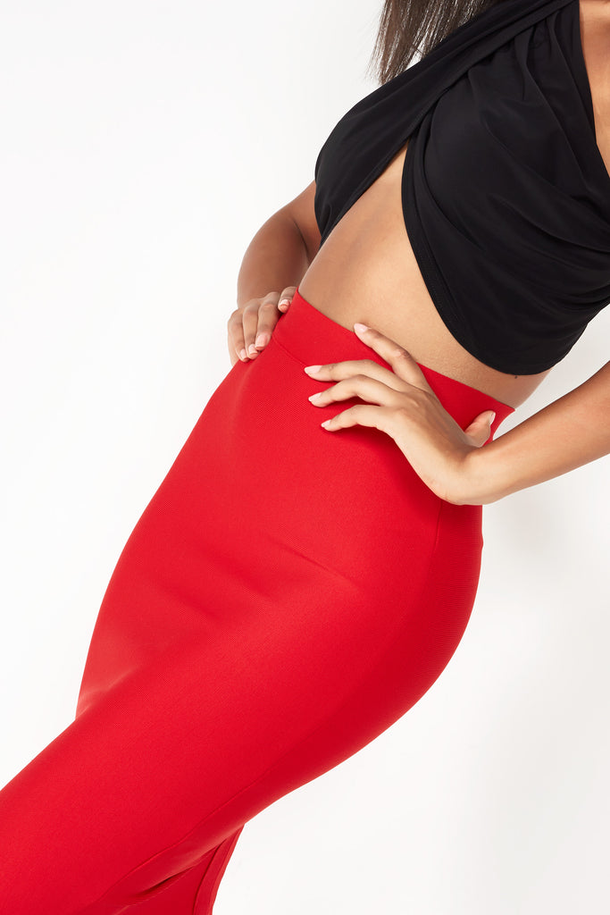 Celsi Red Bandage Style Skirt (1503681282114)