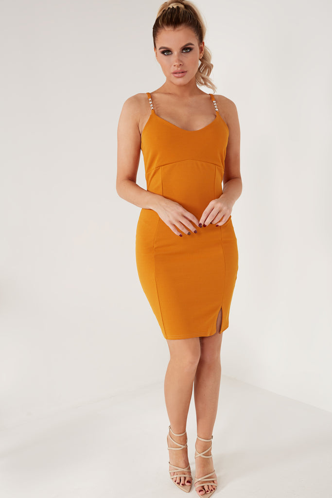 Cepta Mustard Diamante Cami Mini Dress