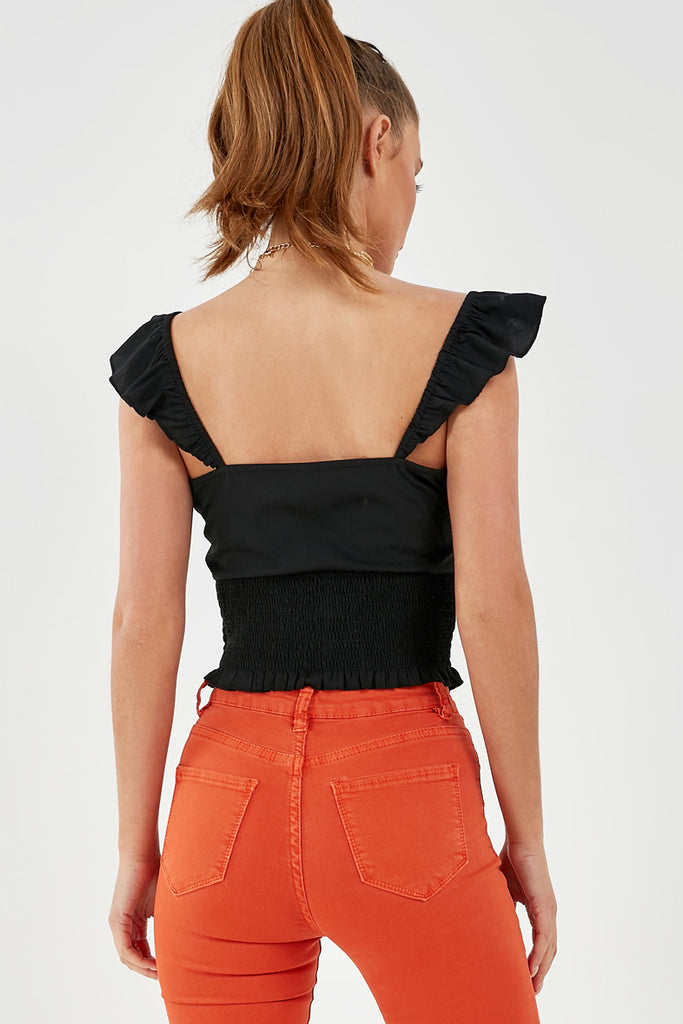 Chara Black Tie Front Crop Top