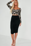 Charlene Black Floral Milkmaid Crop Top