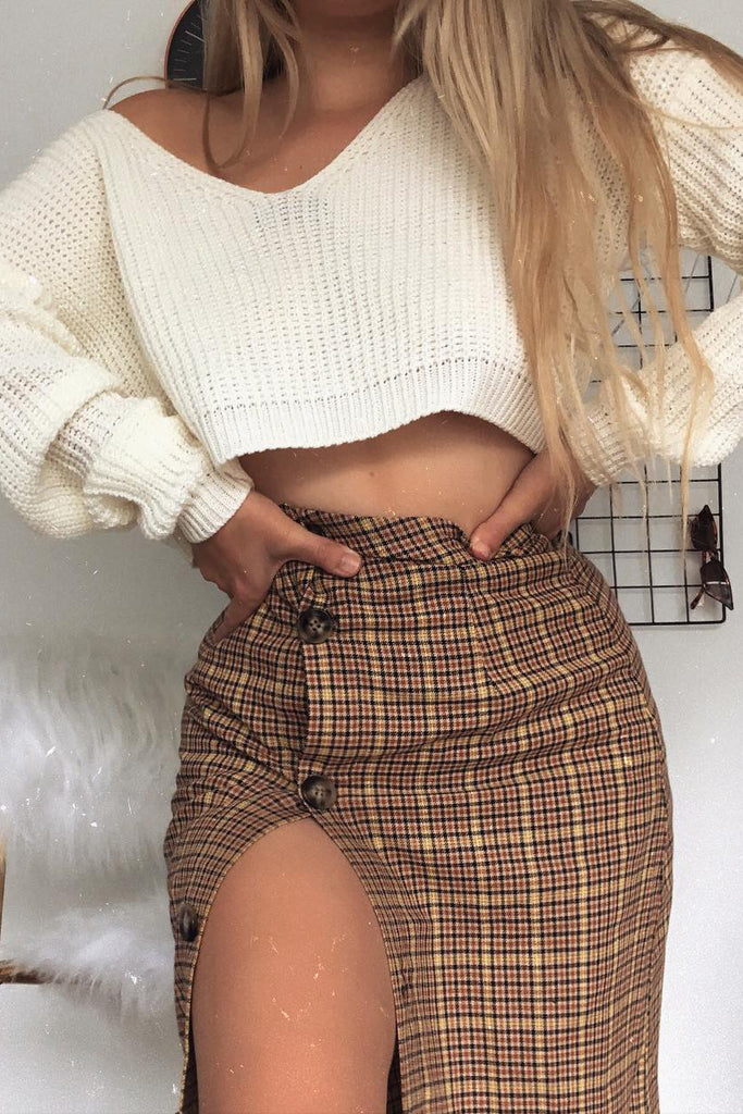 Candy Brown Check Midi Skirt