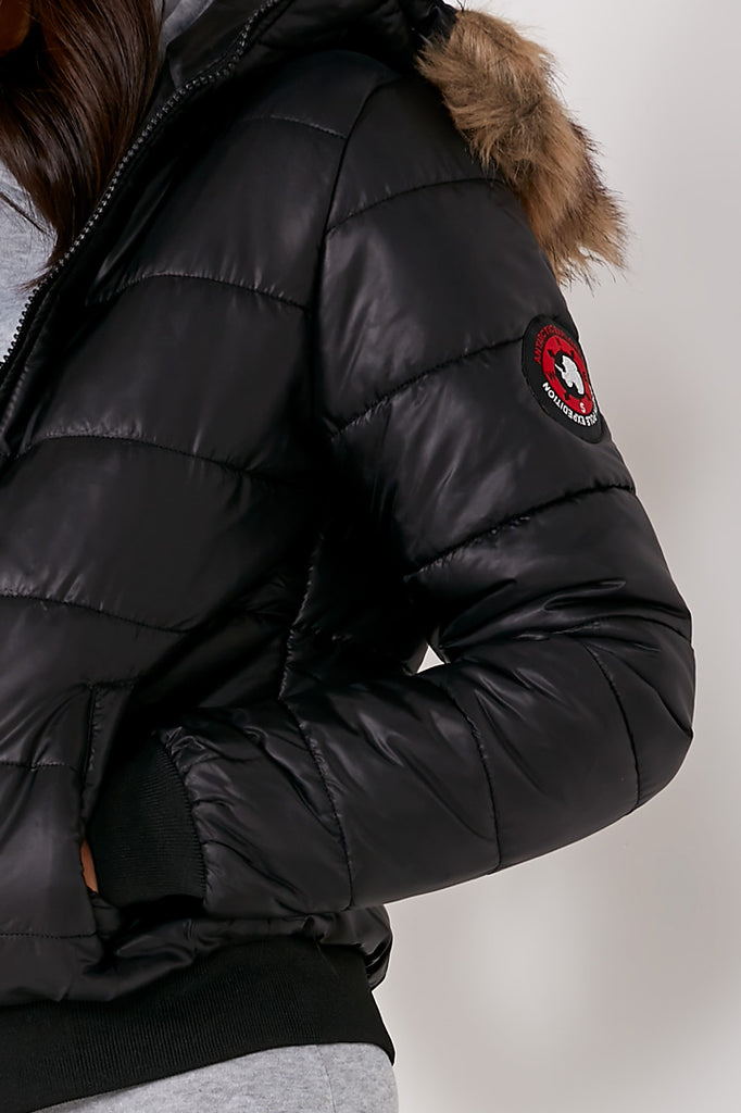 Charlotte Black Hooded Padded Jacket