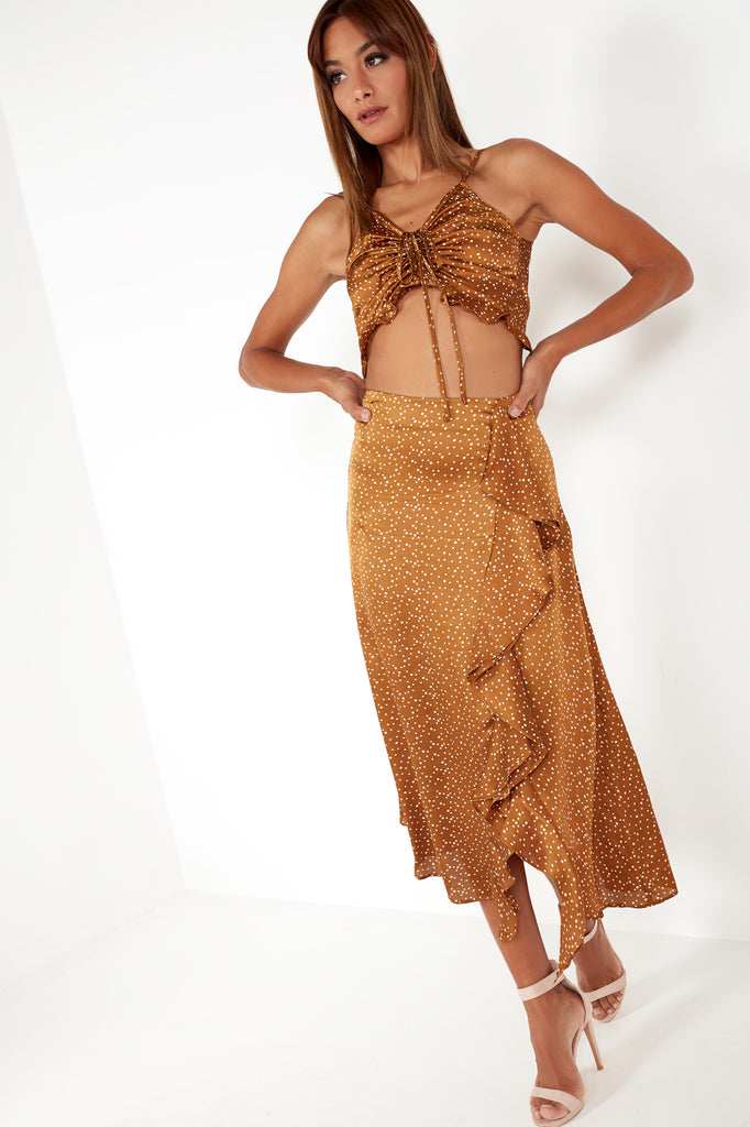 Chaya Gold Polka Dot Skirt Co Ord (1572678238274)