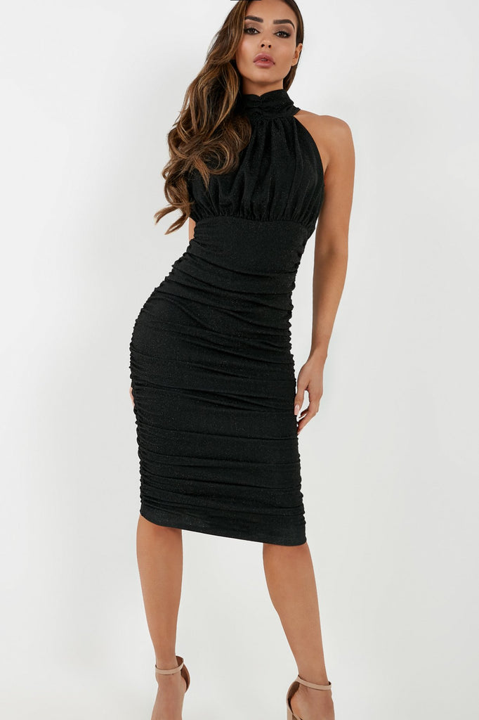 Chelle Black Glitter High Neck Midi Dress (4178722717762)