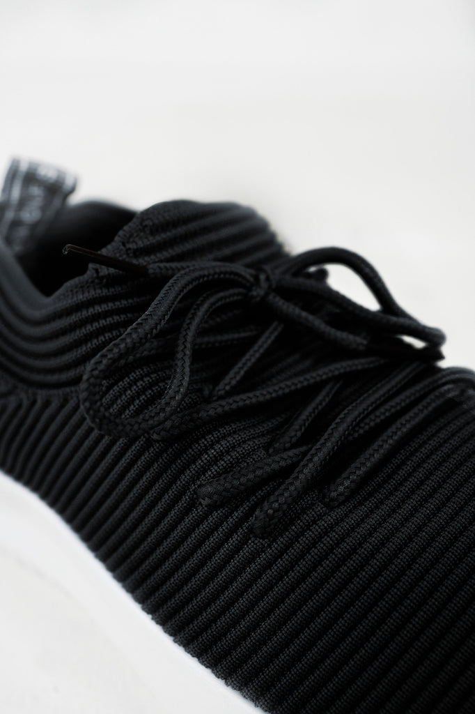 Chelly Black Ribbed Knit Trainers (4163576496194)