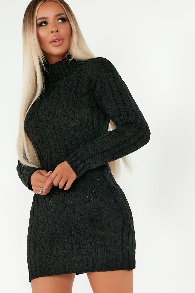 Chelsea Black Cable Knit Jumper Dress