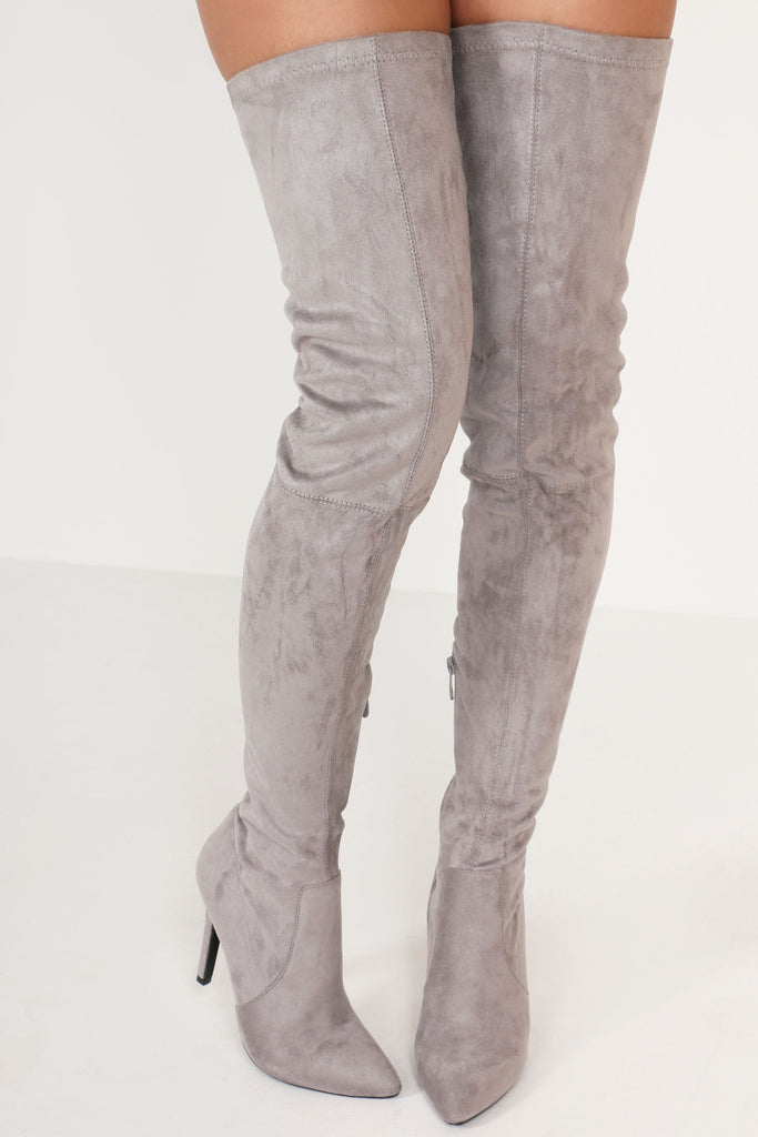 Cher Grey Pointed Toe Over The Knee Boot