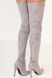 Cher Grey Pointed Toe Over The Knee Boot (6732927365)