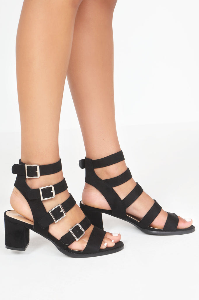 Cherry Black Suedette Gladiator Sandals