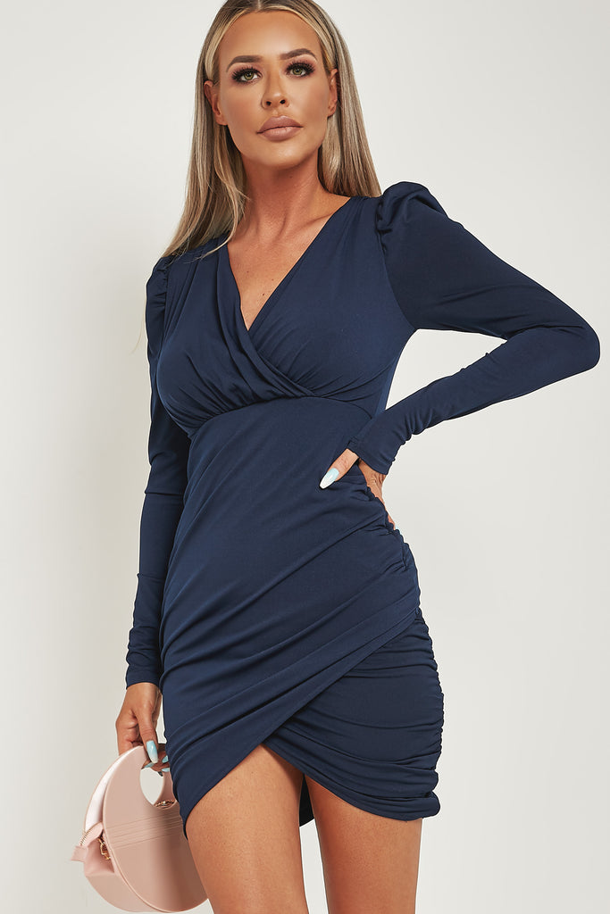 Cheryl Navy Puff Sleeve Ruched Wrap Dress
