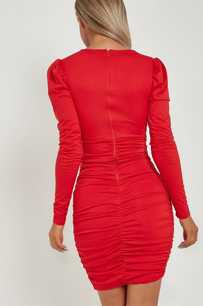Cheryl Red Puff Sleeve Ruched Wrap Dress