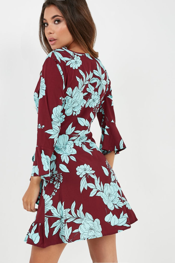Chiara Burgundy and Blue Floral Wrap Dress (4096876445762)