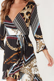 Chiara Multi Chain Print Wrap Dress