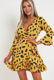 Chiara Mustard Floral Wrap Dress