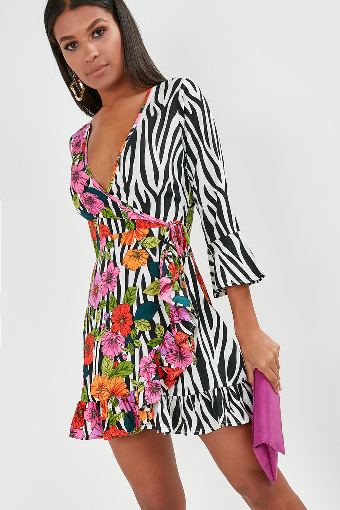 Chiara Pink Floral Zebra Print Wrap Dress