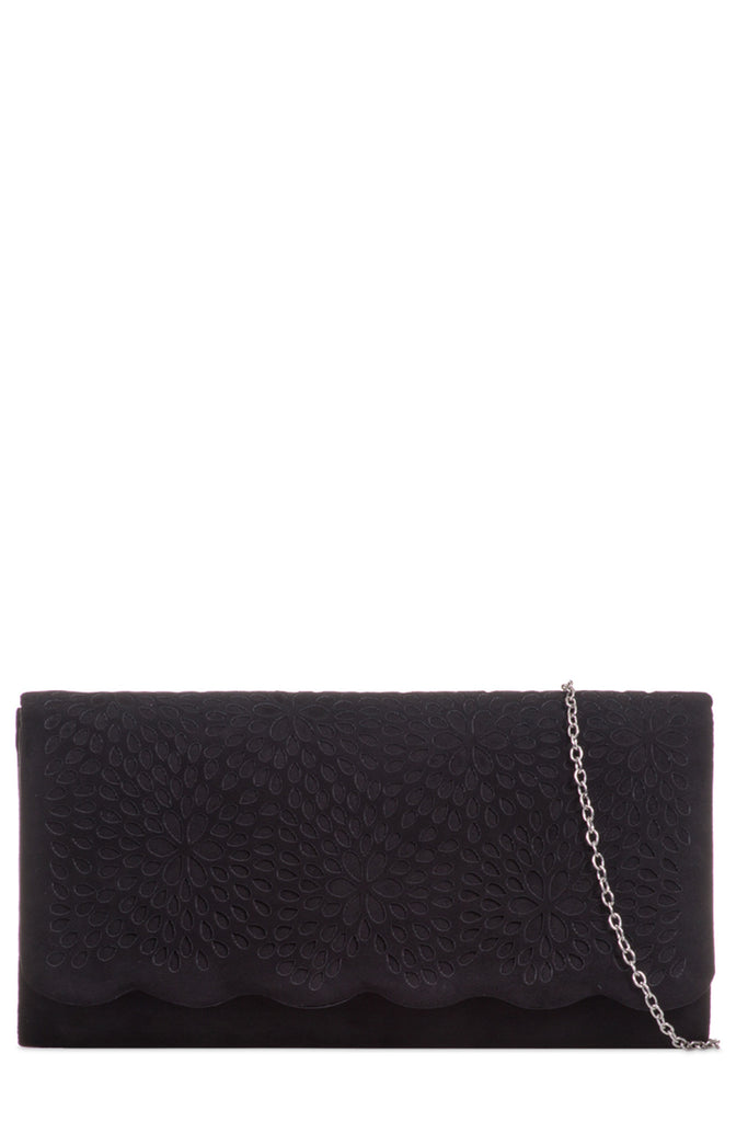 Chloe Black Suedette Laser Cut Clutch Bag (6123148933)