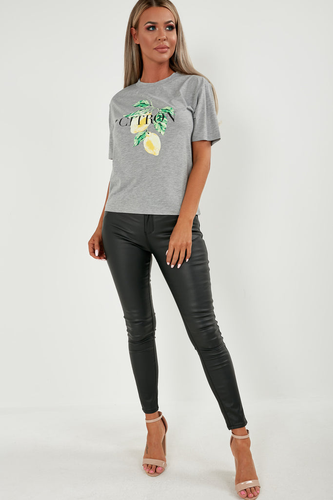 Chrissy Grey Citron Print T-Shirt