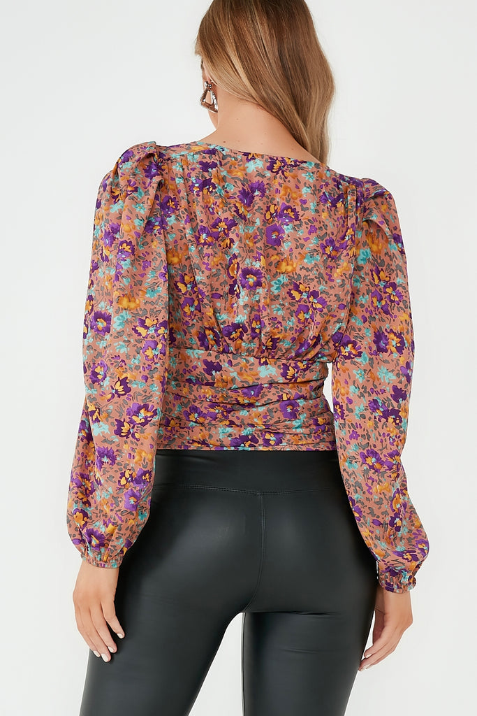 Chrissy Nude Floral Puff Sleeve Crop Top