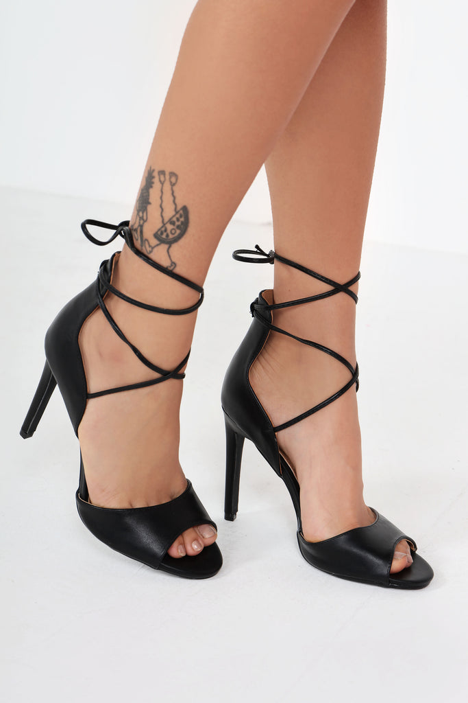 Cia Black Wrap Around Sandals