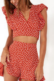 Cia Rust Polka Dot Shorts Co Ord