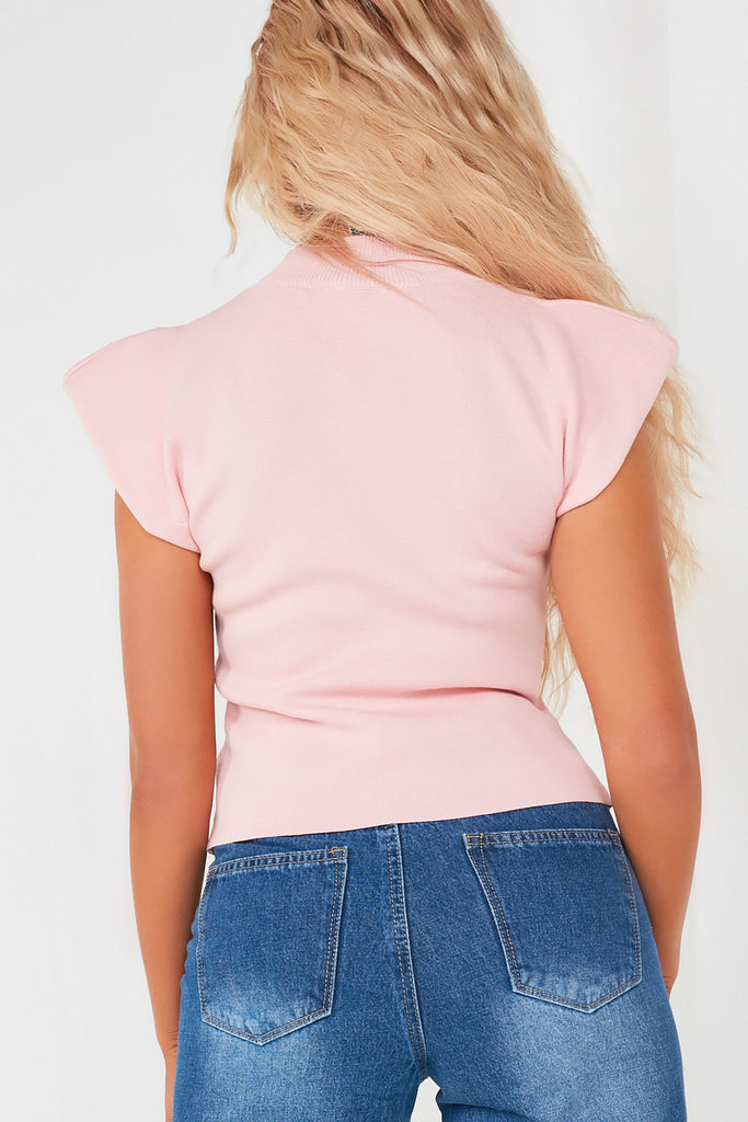 Cilla Pink Padded Shoulder Top