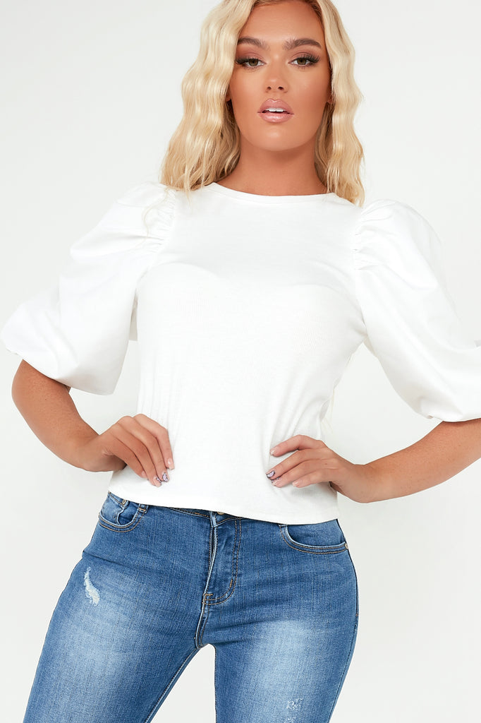 Cindy White Ribbed Balloon Sleeve Top