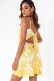 Cindy Yellow Floral Frill Dress