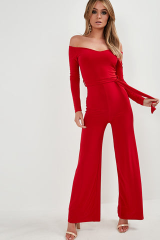 4d00eb26c2 Claire Red Slinky Bardot Jumpsuit