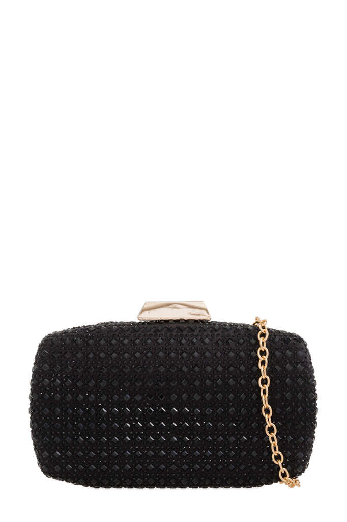 Clara Black Embellished Clutch Bag (88477204496)