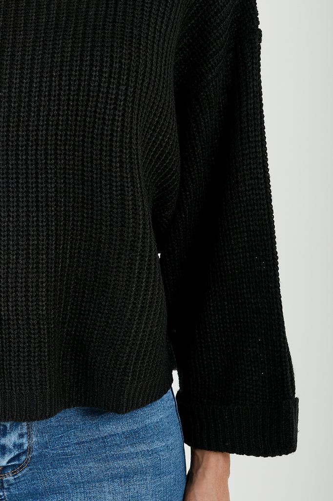 Clara Black Wide Sleeve Cropped Knit Jumper (2032904044610)