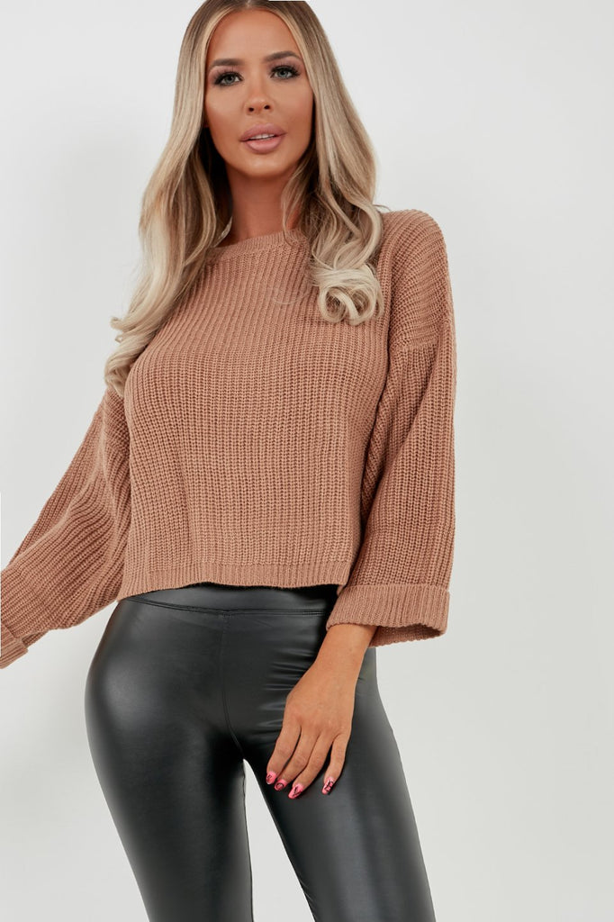 Clara Camel Wide Sleeve Cropped Knit Jumper (2032906731586)