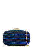 Clara Navy Embellished Clutch Bag