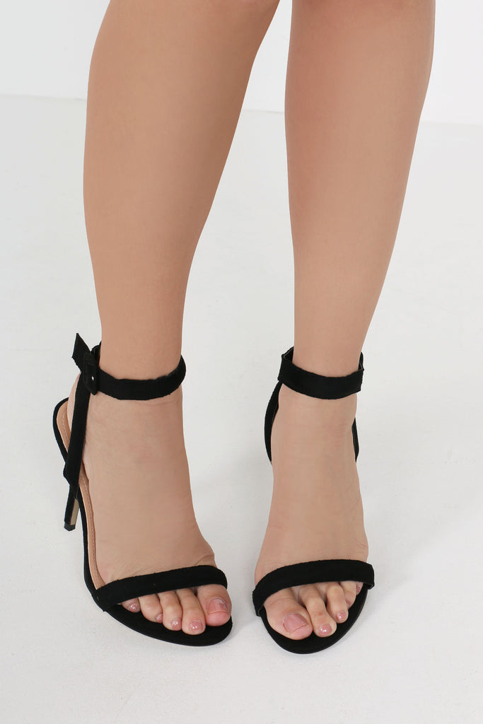 Clare Black Suedette Barely There Shoes
