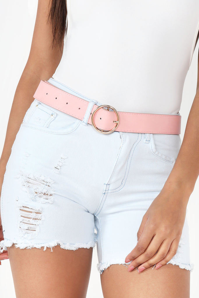 Claudine Pink Circle Buckle Belt