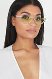 Clear Frames Green Lens Half Moon Sunglasses
