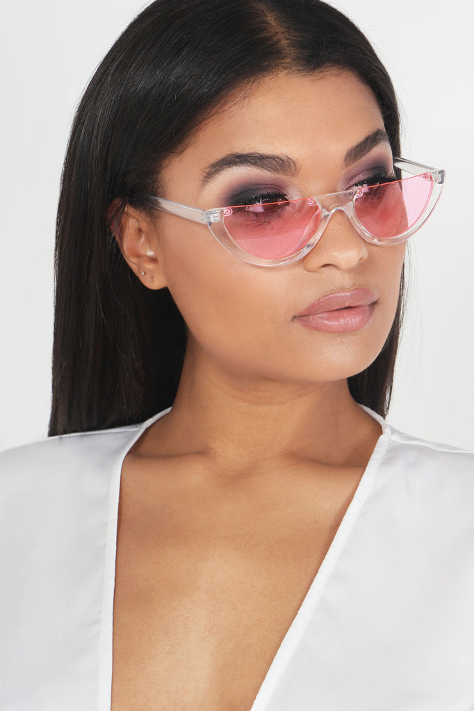 Clear Frames Pink Lens Half Moon Sunglasses