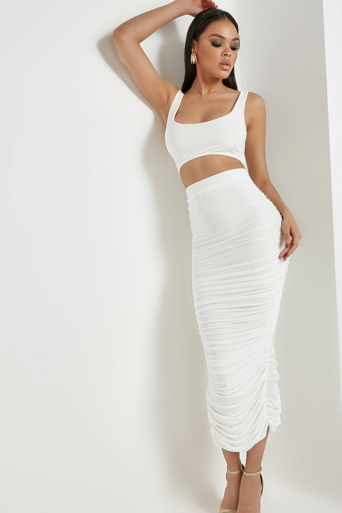 Cleo White Ruched Slinky Skirt Co Ord