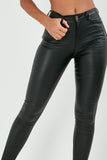 Clio Black Wax High Waist Trousers