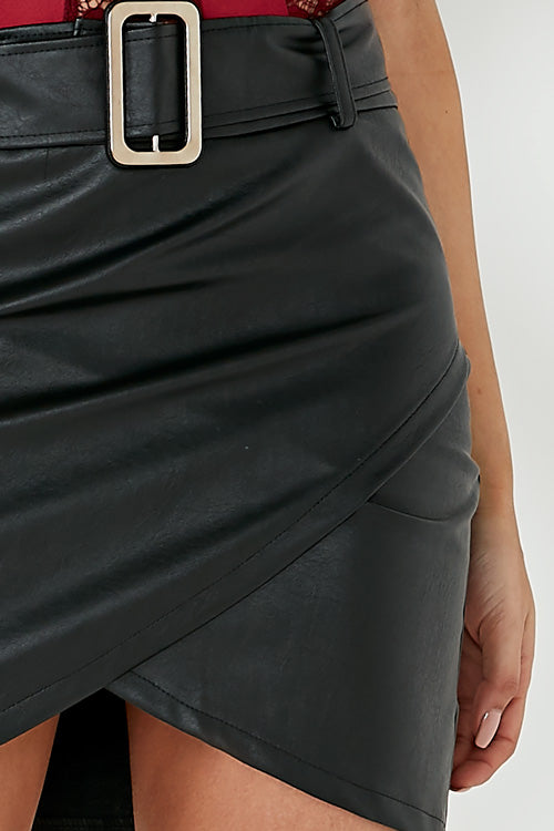 Cliona Black Wrap Leatherette Skirt