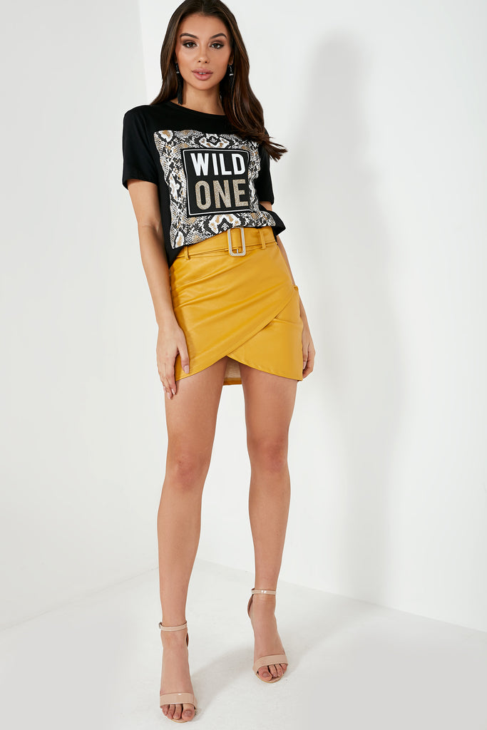 Cliona Mustard Wrap Leatherette Skirt