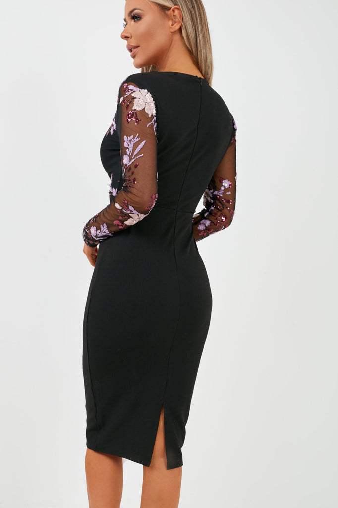 Clionadh Black Sequin Midi Dress