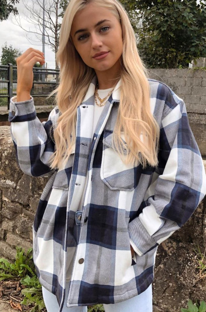 Trixibelle Blue Check Shacket