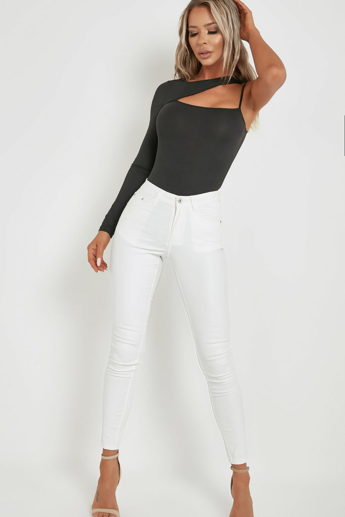 Coco Black One Shoulder Cut Out Bodysuit