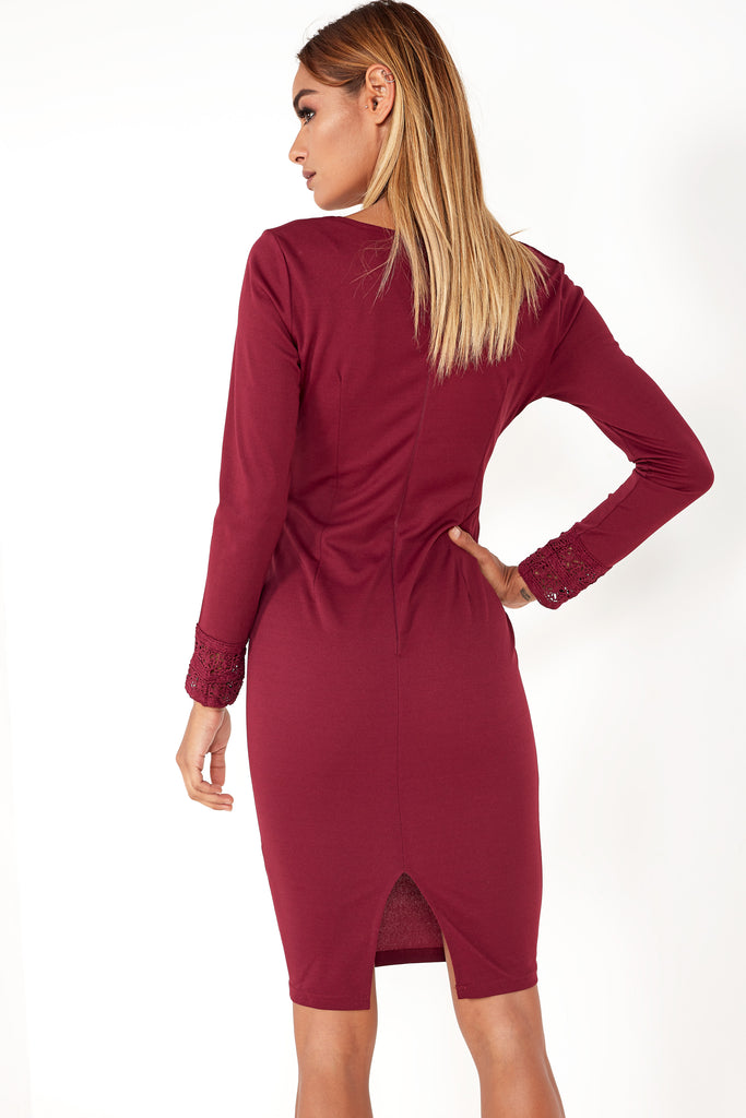 Coleen Plum Crochet Detail Bodycon Dress