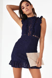 Cora Navy Lace Frill Dress
