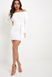 Cora White Ribbed Bardot Mini Dress