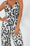 Corie Cream Animal Print Satin Jumpsuit