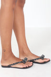 Cynthia Black Diamante Toe Post Flip Flop