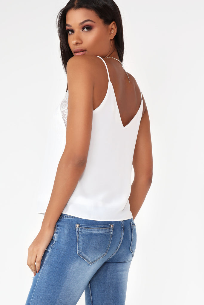 Daeva Off White Lace Camisole Top