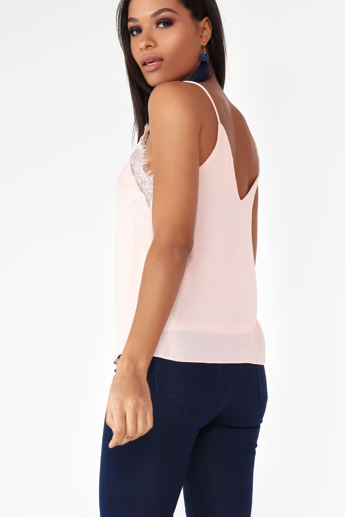 Daeva Pink Lace Camisole Top